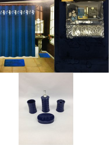 19 piece bath accessory set navy blue soft memory foam for Navy bathroom accessory sets