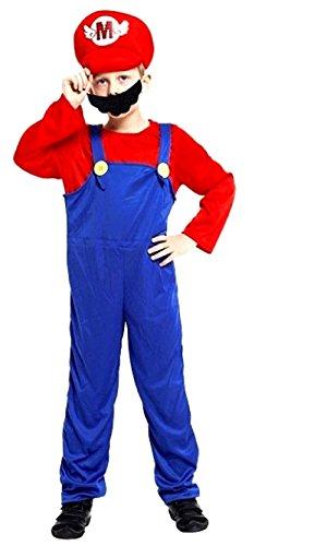 XL - Costume di Carnevale da Super Mario Bros per Bambini - 7 - 8 Anni - 130 - 140 cm