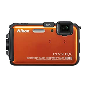 5. Nikon COOLPIX AW100 16 MP CMOS Waterproof Digital Camera with GPS and Full HD 1080p Video (Orange) Price: $299