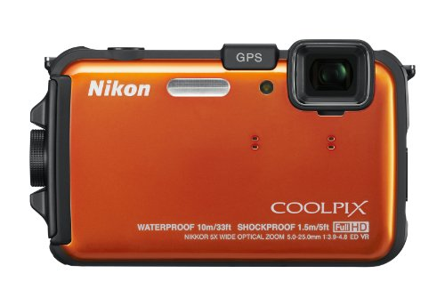 Nikon 26293 CoolPix AW100 16 MP CMOS Waterproof Digital Camera with GPS and Full HD 1080p Video (Orange)