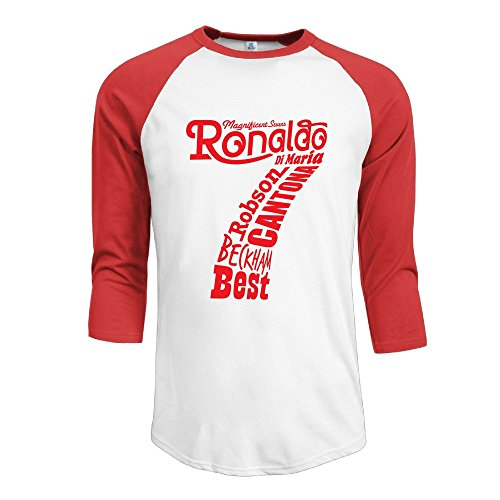 [Hotboy19 Men 7 Magnificent Movie Raglan Baseball T Shirt Red Size S] (Magnificent Movie Costume)