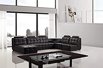 5pc Modern Contemporary Sectional Leather Sofa Set - AM-L632-BK