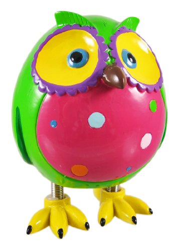 Super Cute Green Owl Piggy Bank W/ Spring Legs Money by Blowfish