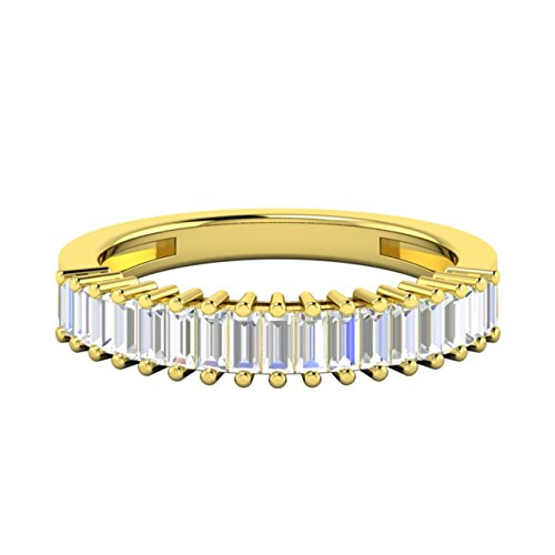 0.60 tcw Baguette Cut Genuine VS Diamond Wedding Band / Anniversary Ring in 18Ct Yellow Gold (H)
