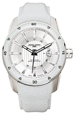 Jorg Gray JG3700-13 White Leather Silver Swiss ISA Movement Patterned Mens Wrist Watch
