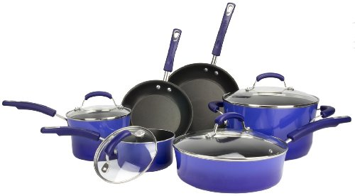Rachael Ray 10-Piece Kitchen Nonstick Porcelain Enamel Ii Cookware Set Pots Blue