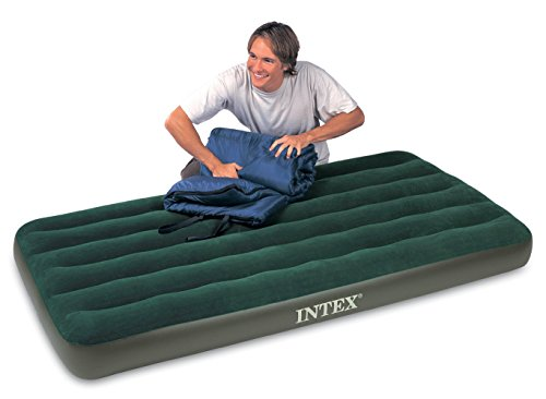 Intex Prestige Downy Airbed Kit with Hand Held Battery Pump, Twin