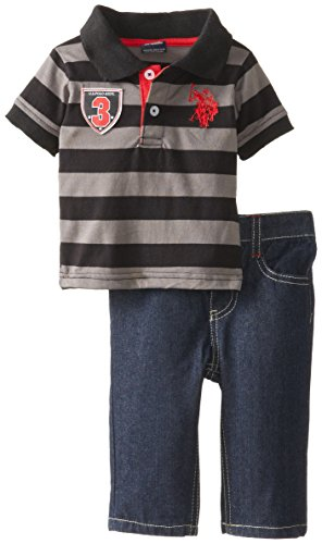 U.S. Polo Assn. Baby-Boys Newborn Wide Stripe Jersey Polo And Denim Jean Set, Black, 6-9 Months
