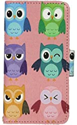 Apple iPhone 5C Pink Cute OWLS Birds Camo Mossy Tree Leather Wallet Purse Handbag Case Cover with Clear Slot for ID, Credit Card Slots and Hidden Slot for Cash