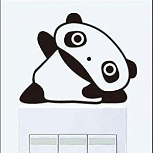 Wall Decor - All-matching Removable Wallpaper Switch Stickers with Panda Pattern Large Size Black by Mark8shop