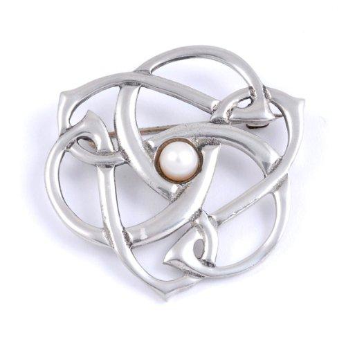 St Justin, Pewter Pearl Triscele Swirl Brooch