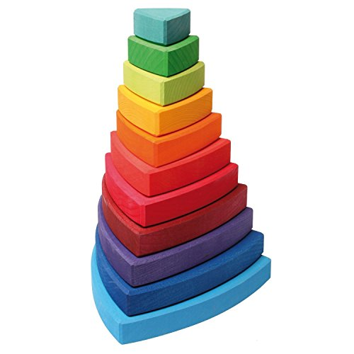 Grimm's Large Wooden Triangular Conical Tower (Wankel), 11-Piece Rainbow Colored Stacker, Made in Germany - 1