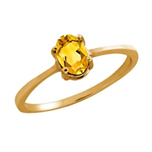 0.40 Ct Oval Yellow Citrine 18K Yellow Gold Ring