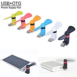 AE (TM) Smallest Mobile Fan Powered By OTG Enabled Android Smart Phone & USB Dual Power Fan for Powerbank (COLOR MAY VARY)