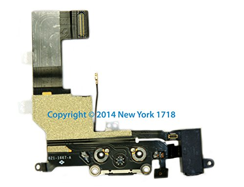 Brand New Original Iphone 5S Lightning Dock Connector With Headphone Jack (Black) - Ny1718