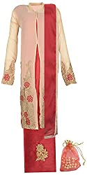 Jumeirah Collections Women's Georgette Semi-Stitched Salwar Suit (Beige and Cherry Red)