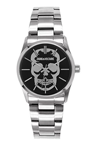 Zadig Voltaire ZV &007T/Rock AM-Unisex Watch Analogue Quartz Silver Steel Strap Black Dial