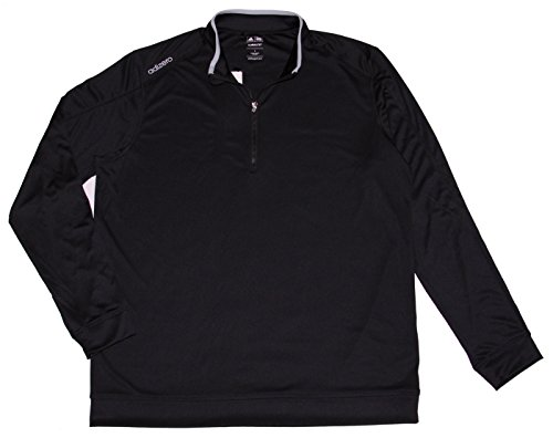 adidas Mens ClimaLite Half Zip Golf Shirt Top, Black/Grey