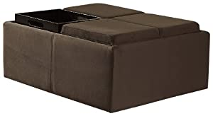 Homelegance Contemporary Storage Ottoman with Four Flip Top Tray Inserts, Mocha Microfiber
