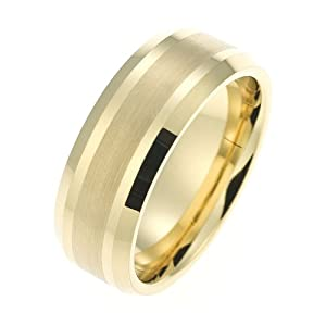 Wedding Ring, Tungsten Carbide With A Gold Pvd Coating, 8Mm Band Width - Size N