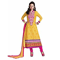 Ashika Women Cotton Dress Material (8563 _Yellow And Pink _56)