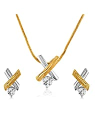Mahi With Swarovski Zirconia Solitaire Cross Gold And Rhodium Dual Tone Pendant Set For Women NL1105038M