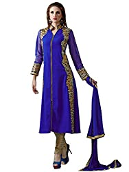 Inddus Women Blue & Gold Georgette Embroidered Dress Material