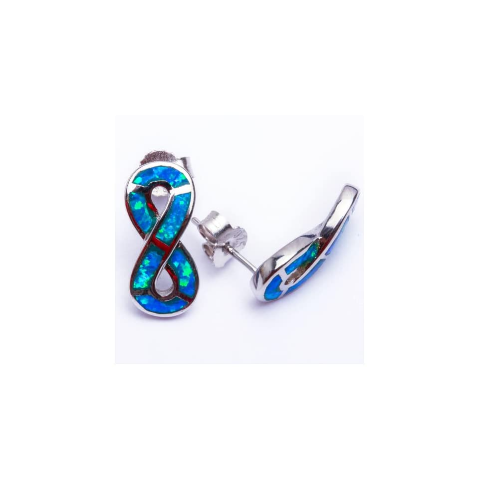 Lab Created Blue Opal Infinity Set .925 Sterling Silver Earring Set SEO5167