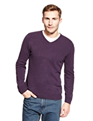 2in Longer Blue Harbour Cashmilon™ V-Neck Jumper