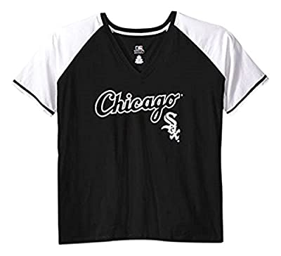 MLB Women's Short Sleeve Raglan Deep V-Neck T-Shirt