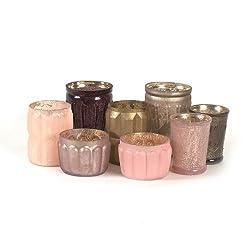 Creative Co-Op Mercury Glass Tealight Holder Set Cream and Taupe