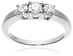 14k White Gold 3-Stone Diamond Ring (3/4 cttw, I-J Color, I1-I2 Clarity), Size 7