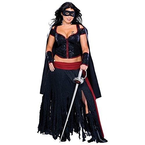 GSG Lady Zorro Plus Size Women Sexy Mexican Senorita Bandita Halloween Costume (Sexy Mexican Costumes)