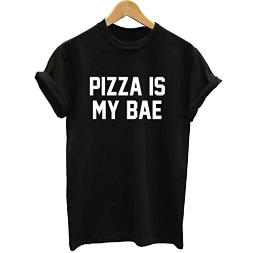 Uideazone Teen Girls Pizza Is My Bae Shirt Women Causal Tee Black c12 Asia M= US S (Teenagers Clothes compare prices)