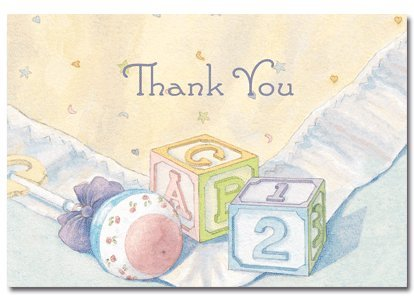 Baby Blocks & Quilt Thank You Note Cards & Envelope - 24 sets