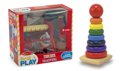 3 Item Bundle: Melissa & Doug 3038 Toolbox Fill and Spill Toddler Toy and 576 Rainbow Stacker Classic Toy + Free Activity Book
