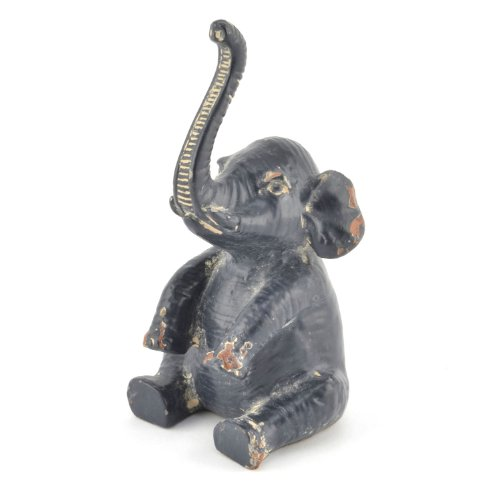 Antiqued Hand Painted Pewter Elephant Ring Holder