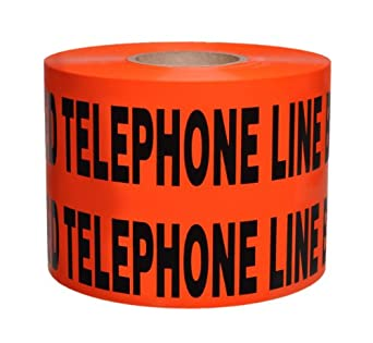 "Presco B6104O54-658 1000' Length x 6"" Width x 4 mil Thick, Polyethylene, Orange with Black Ink Non-Detectable Underground Warning Tape, Legend ""Caution Buried Telephone Line Below"" (Pack of 4)"
