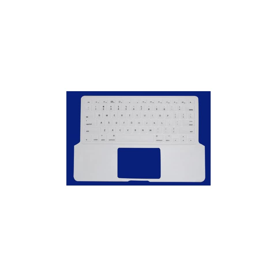 White Preprint Silicone Keyboard Cover for Aluminum Unibody Macbook Pro 13,cover Both the Keyboard and the Palm Area