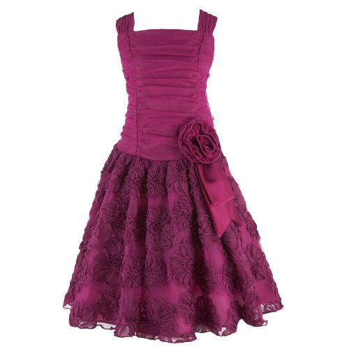 Size-8 BNJ-3233-B FUCHSIA-PINK SHIRRED BONAZ MESH OVERLAY Special Occasion Wedding Flower Girl Pageant Social Party Dress,B43233 Bonnie Jean 7-16