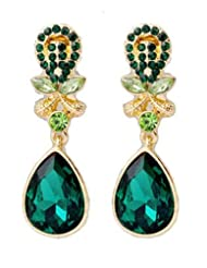 Emerald Crystal Statement Drop Stud Earrings Green Forest Jewellery (Supplied in a Gift Pouch) Unique Fashion...