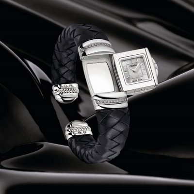 Fendi Spy Braided Leather Bangle Mother-of-Pearl Dial Women's Watch #F901241