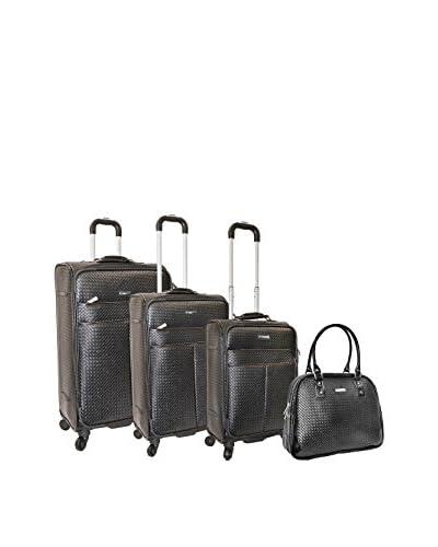 Adrienne Vittadini Woven 4-Pc Luggage Set, Black