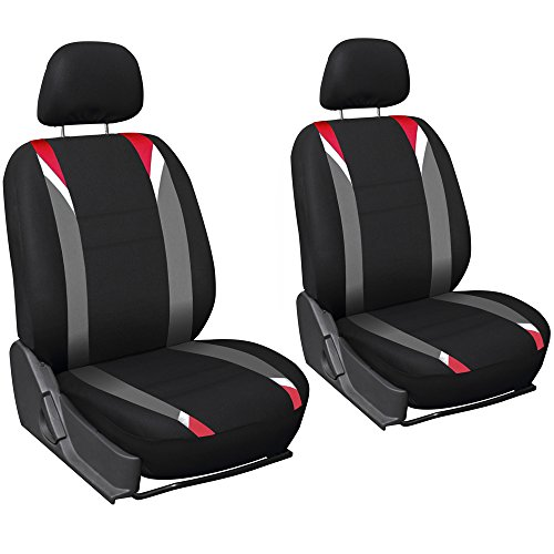 Oxgord Flat Cloth Bucket Seat Cover Set for Car/Truck/Van/SUV, Airbag Compatible, Red Black & Gray (2013 Toyota Corolla S Seat Covers compare prices)