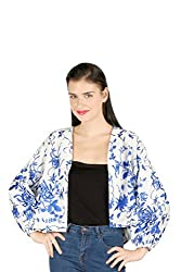 Aaliya Woman's Polyester crepeJackets- White||blue-M