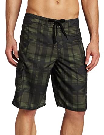 O'Neill Men's Santa Cruz Plaid Boardshorts, Camo, 28