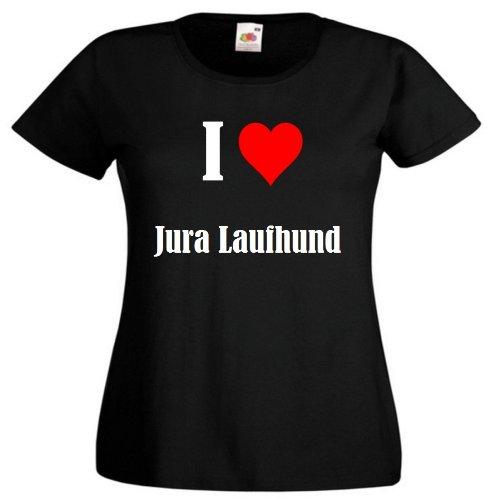 """Damen T-Shirt """"I Love Jura Laufhund""""Größe""""L""""Farbe""""Schwarz""""Druck""""Weiss"""