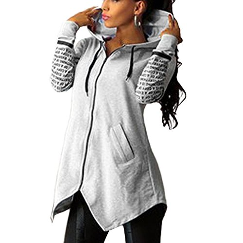 Minetom Sweatshirt Maniche Lunghe Con Cappuccio Donna Cerniera Hoody Giacca Bordo Irregolare Felpe Grigio IT 42