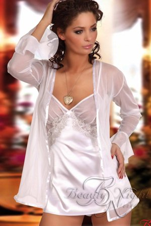 Beauty Night BN6105 Sweet Paula White Chemise, Blouse and Thong Set