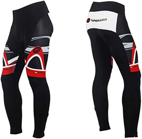 Sponeed Men's Cycle Shorts Tights Long Pants Shorts Athletic Cycling Bottom Size Asia XXL/ US XL Redwhite (Insulated Biking Pants compare prices)